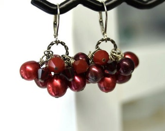 Dark Red Pearl Earrings with Scarlet and Black Cherry Crystals in Rhodium from North Atlantic Art Studio in Maine