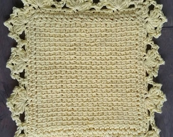 Hotpad potholder - handmade, 100% cotton, knit like Tunisian crochet, fancy lace border, yellow homemade pot holder