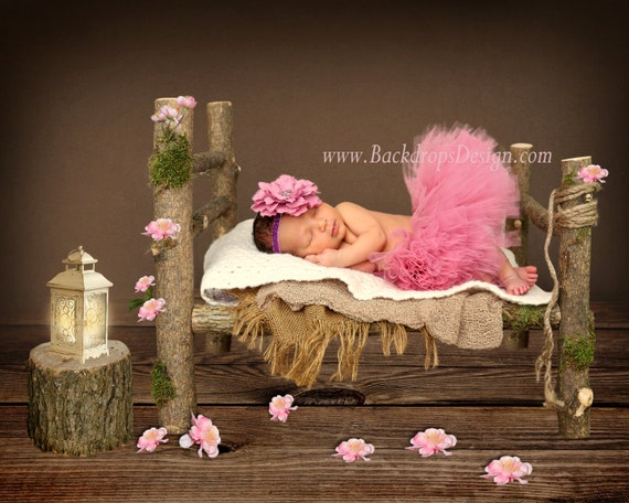 Log bed newborn photography prop hand made studio outside