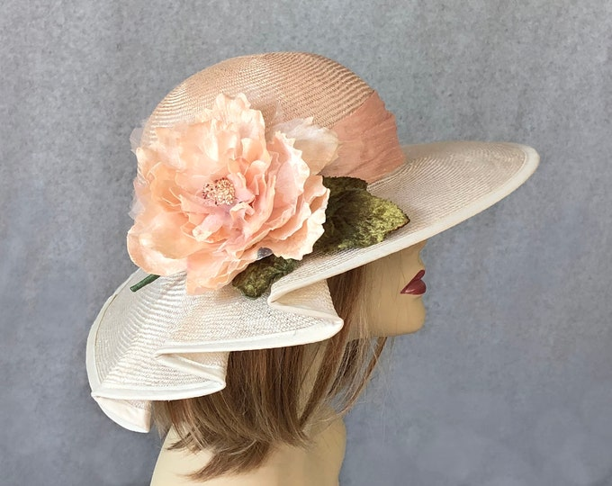 Featured listing image: Kentucky Derby hat, Claire, beautiful straw hat with draped pleating on the side, womens, two tone straw hat