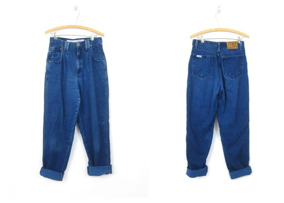"80s ZENA Jeans High Waist Jeans Dark Blue Jeans Denim Jeans Mom Jeans 1980s Hipster Street Wear Casual Fall Jeans Womens size 10 28"" waist"