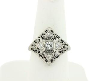 14K Filigree ring with Diamonds