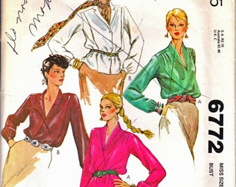 McCall's 6772 Woman Classic Pullover Blouse, Button Front Blouse, Long Sleeve Blouse, Dressy Blouse Sewing Pattern Sz 10 Vintage 1970s UNCUT