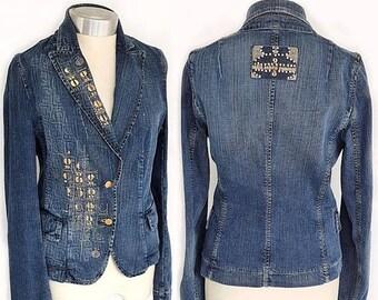 SALE Vintage MILA SCHÖN Blue Jean Blazer , Italian Denim Jacket Rhinestone Embroidered denim jacket hippie boho Jean blazer size 6(S/M)