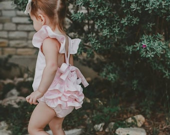 Baby girl romper,birthday outfit, photo prop, light pink linen romper