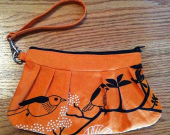 Orange Clutch | Bird Wristlet | Wristlet Clutch | Orange Clutch | Orange Wristlet | Clutch Purse | Lined Clutch | READY TO SHIP