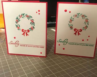 Set of 2 handmade Christmas cards