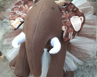 "Brown Plush Elephant - ""Café"""