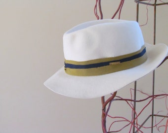 Vintage Cream Fedora with Olive/Navy Ribbon by Wegener