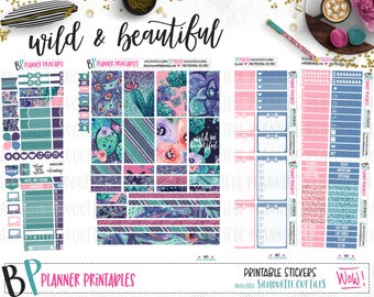 Wild and Beautiful | Weekly Printable Planner Kit | Planner Stickers | Cut Lines | for use with Happy Planner | Planner Stickers Printables