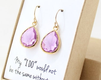 Lavender Purple / Gold Teardrop Earrings - Lavender Purple Teardrop Earrings - Purple Bridesmaid Earrings - Bridesmaid Gift Jewelry - EB1