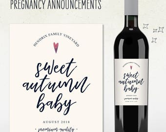 Pregnancy Announcement - Personalized wine label! (SWEET AUTUMN BABY)