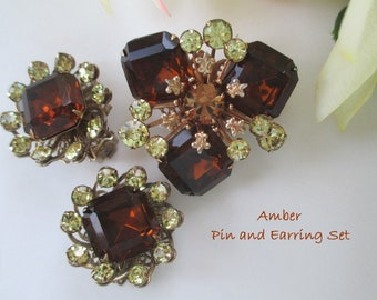 Pin And Earring Set * Deep Amber Color With Rhinestones * Gorgeous Classic Set * Gift For Her