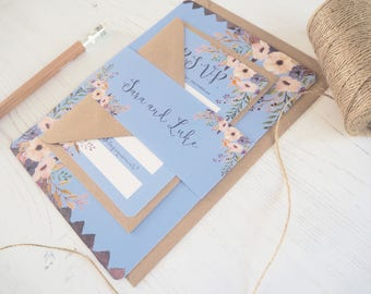 Royal Blue Floral Wedding Invitation with matching RSVP - SAMPLE