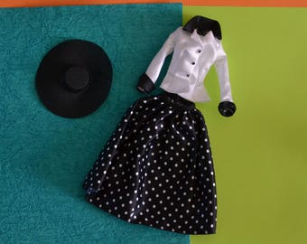 Mint Mattel Vintage Barbie 1990's Christian Doir style black and white fashion outfit