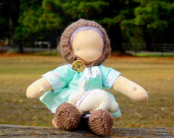"Waldorf, Steiner weighted doll with knitted bunny, 11"", 28cm, hand made"