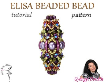 ELISA Beaded bead pattern with Crescent beads and Double hole Cabochones, DIY tutorial