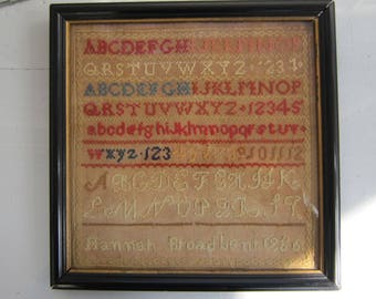 Antique Needlework Alphabet Sampler