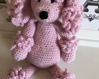 Hand crochet pink poodle