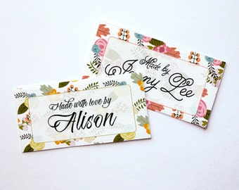 "Garden Floral Custom Fabric Labels Sew-on or Iron-on • 80 Labels  2 x 1"" Uncut • Your Name Added • Colorfast 100% Preshrunk Cotton"