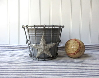 Wire flower pot cache pot planter with silver German glass glitter metal star and removable zinc look insert  Farmhouse Cottage