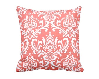 Throw Pillow Cover Coral Pillow Cover Damask Pillow Coral Cushion Coral Pillowcase Coral Home Decor 20x20 Pillow 18x18 Pillow