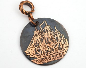 Copper galleon pendant, round flat antiqued metal ship jewelry, optional necklace, 28mm