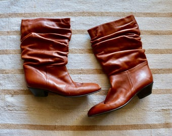 Vintage Sudini Italy Leather Size 8 Slouchy Riding Boots, Cognac Low Heel