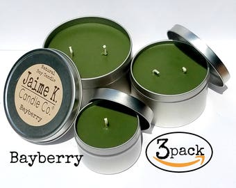 Bayberry  Candle Gift-Pack Assorted Sizes Travel  Tins 100% Soy Wax