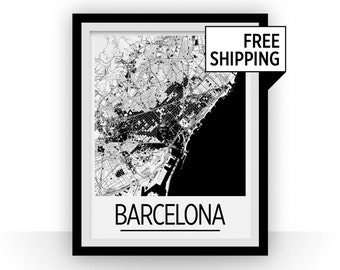 Barcelona Map Poster - spain Map Print - Art Deco Series