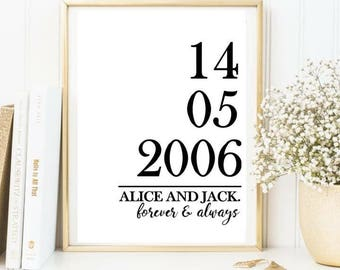 Anniversary / wedding print / personalsied wedding print / love print
