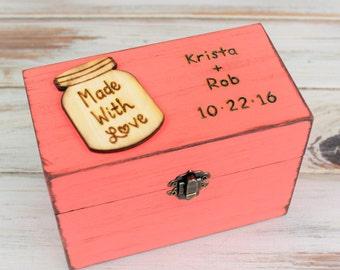 Rustic Recipe Box - 4 x 6 Recipe Box - Wood Recipe Box -Bridal Shower Gift, Personalized Recipe Holder, Rustic Kitchen Decor