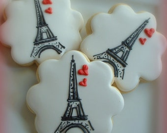 Paris cookies - Eiffel tower cookies - 1 dozen - Valentine's day - Wedding cookies - Anniversary gifts