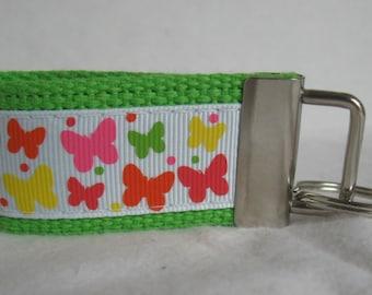 Butterfly Small Key Fob - Butterflies Mini Key Chain - Lime Zipper Pull