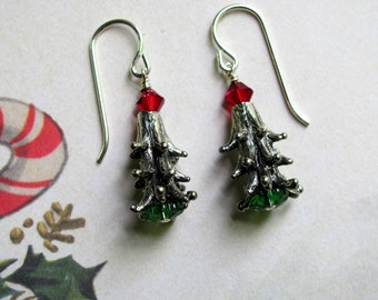 Christmas Pine Tree Earrings, Holiday Earrings, Swarovski Earrings, Christmas Earrings, Christmas Tree Earrings, Christmas Jewelry