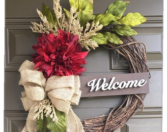Spring dahlia wreath for front door - 14 inch wreath with accent - summer wreath with burlap bow - Year round wreath - all year wreath -