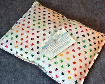 Microwave Heating Pad, Large Corn Bag, Microwave Heat Pack, Bed Warmer, Corn Heated Bag, Gift for her -- Large 10x14 -- Paw Prints