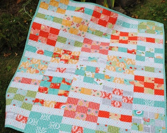 Baby Quilt Pattern, Lap Quilt pattern, 2 sizes, Layer Cake and Fat Quarter friendly, Lucky Nines