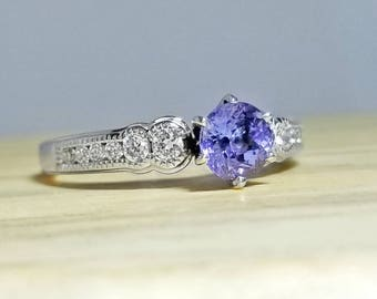 Tanzanite & Diamond Ring in Sterling Silver / Unique Natural Blue December Birthstone  Engagement Ring / De Luna Gems / Free Shipping!