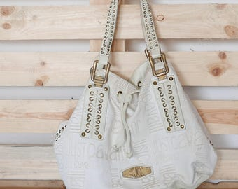Vintage  bag with handles in white leather, lined inside brand JUST CAVALLI OOAK Made in Italy
