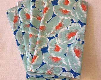 Reusable Cloth Napkins Large Blue Aqua Floral
