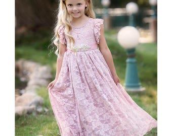 Flower girl dress, lace rustic flower girl dress, Lace flower girls dresses, Blush pink mauve lace girls dress, Toddler dress, Baby dress.