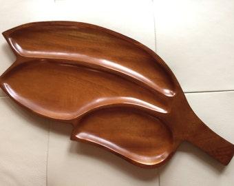 Haitian Mahogany Wood Leaf Tray, Wood Tray, Mahogany Wood Tray, Wood Serving Tray
