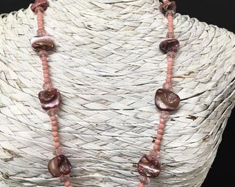 Natural Pink Mother of Pearl Necklace