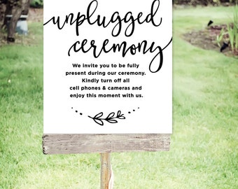 "Unplugged Wedding Sign | Printable Unplugged Ceremony Sign| Instant Download | Floral | Poster Size 24""x30"" 