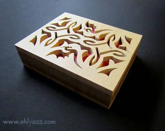 Fretwork medieval Dragon box handmade