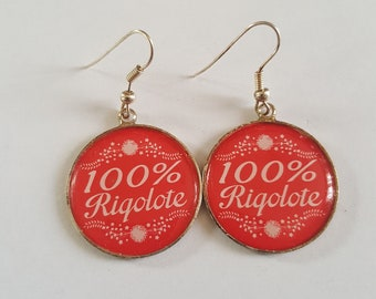 "Earrings cabochon ""funny 100%"""