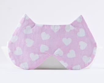 Pink Sleep Mask, Valentines Day Gift for Her, Pink Cat Lover Gift, Girlfriend Gift, Cat Ears, Travel Gifts for Women, Valentines Decor
