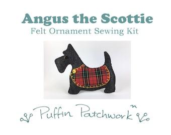Dog sewing kit, Scottie dog felt sewing kit, Felt dog ornament kit, DIY sewing kit, Felt Christmas ornament sewing kit, Dog gift, Craft kit.