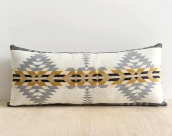 Rancho Arroyo Cream and Silver Lumbar // Geometric Wool Pillow